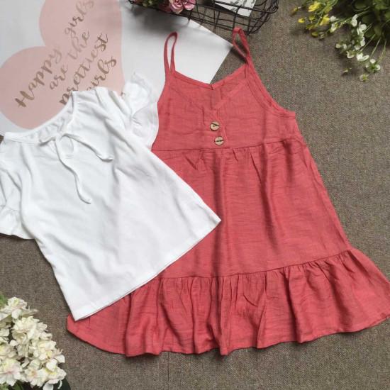 bán sỉ Combo váy yếm tơ đũi kèm áo cotton size 7 -10 - đại lý phân phối hãng