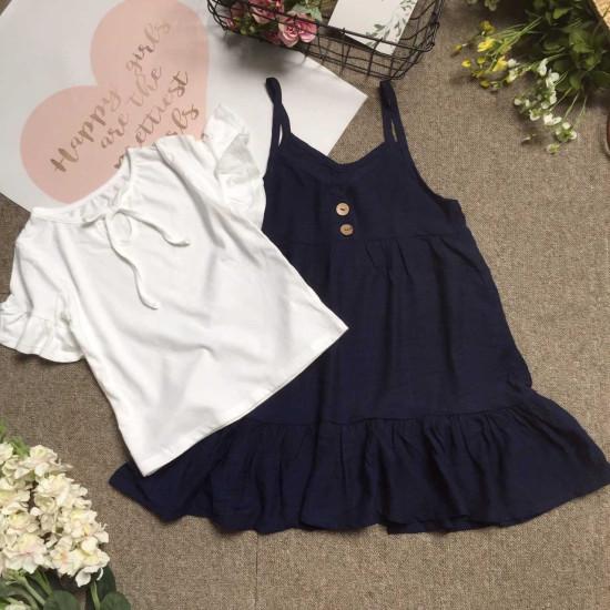 Combo váy yếm đũi tằm kèm áo cotton size 7 -10