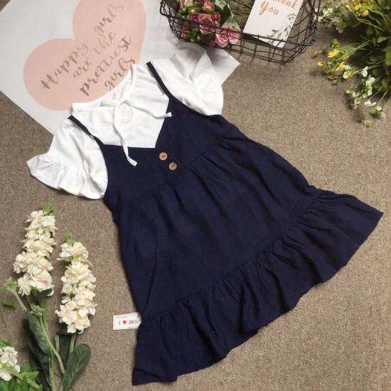 Combo váy yếm đũi tằm kèm áo cotton size 7 -10-