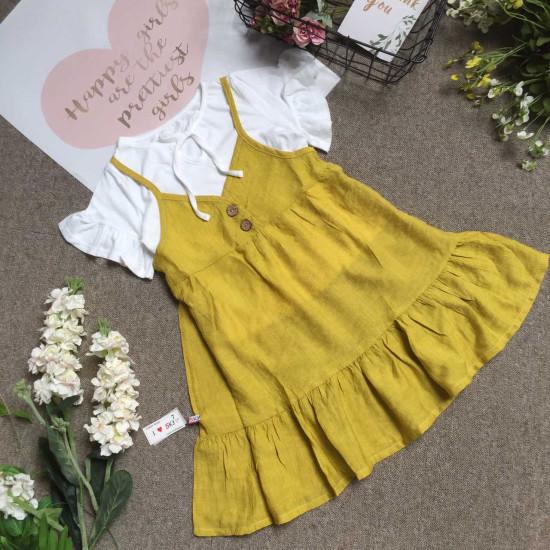 Combo váy yếm đũi tằm kèm áo cotton size 7 -10-BỘ XUÂN HÈ BÉ GÁI