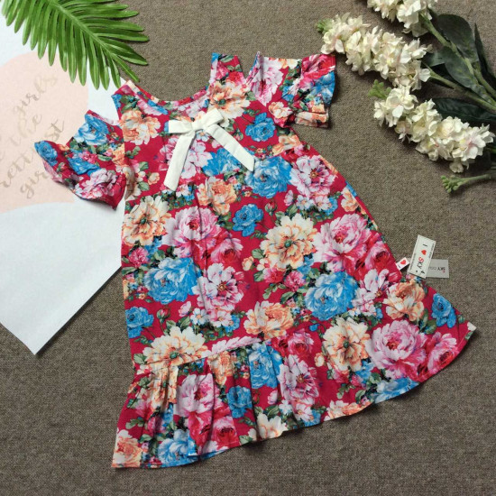 Váy lanh hoa đuôi cá tay trễ size 4-8