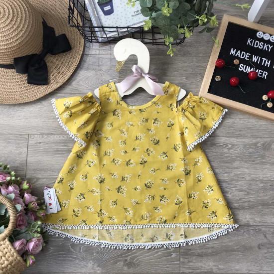 Áo váy thô hoa tay trễ ren gấu