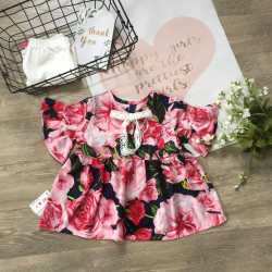 áo váy hoa tay loe bé gái xuân hè- Av2055