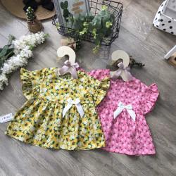 Áo váy hoa thô hàn tay loe- av2055-1