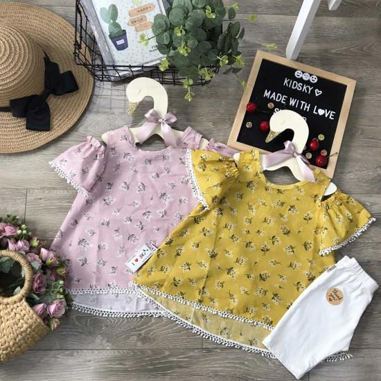 Áo váy thô hoa tay trễ ren gấu-VÁY XUÂN HÈ BÉ GÁI