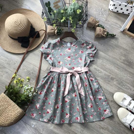 Váy hoa đai buộc size 7 -10-VÁY XUÂN HÈ BÉ GÁI