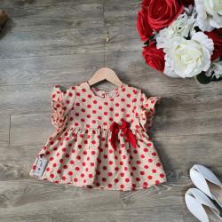 Áo chấm bi đũi hoa tay loe size 2-6  - AV50305