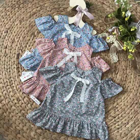 Áo hoa tay trễ bé gái size 2-6-ÁO XUÂN HÈ BÉ GÁI