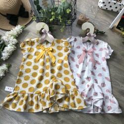 Váy hoa đũi tơ vạt chếch size 4-8  - VD50305
