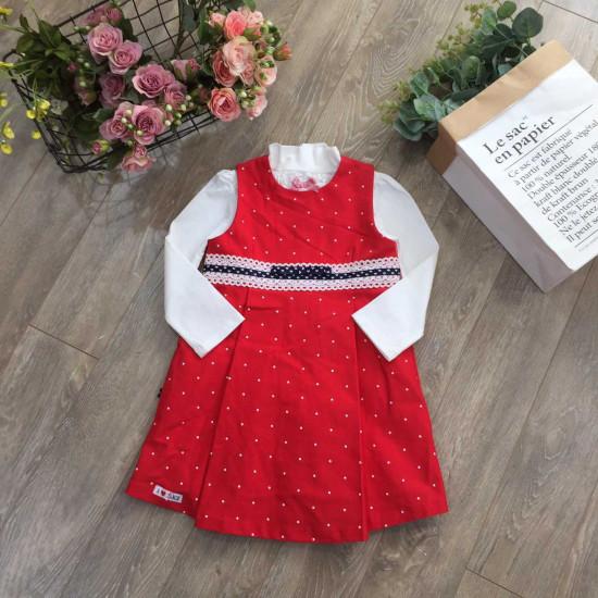 Váy đỏ chấm bi - V1715125-VÁY THU ĐÔNG BÉ GÁI