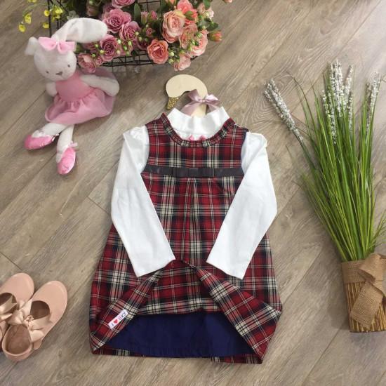 Váy thu kẻ dáng chữ A - V76315-VÁY THU ĐÔNG BÉ GÁI