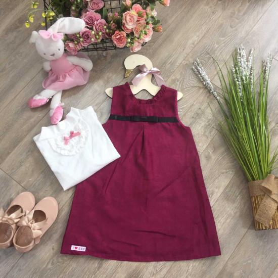 Váy nhung tăm dáng chữ A- V86225-VÁY THU ĐÔNG BÉ GÁI