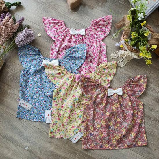 Áo váy hoa tay tiên size 2-6-VÁY XUÂN HÈ BÉ GÁI