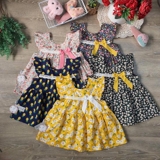 Bộ đồ bé gái hoa- áo váy tay tiên kèm quần legging size 2-6-BỘ XUÂN HÈ BÉ GÁI