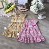 Váy hoa bé gái hè - chất liệu Kate hàn nơ eo đuôi cá-VÁY XUÂN HÈ BÉ GÁI